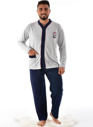 Pemilo Erkek 960 Uzun Kol Boy Düğmeli Süprem Pijama Takımı MAVİ Gri